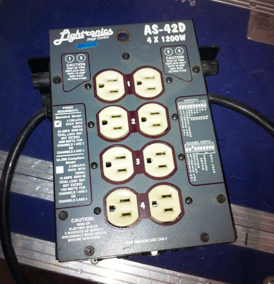**USED** Lightronics AS42D - 1200W - 2 Input, DMX Dimmer